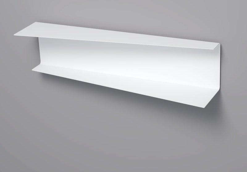 White floating wallsheves. Design, metal